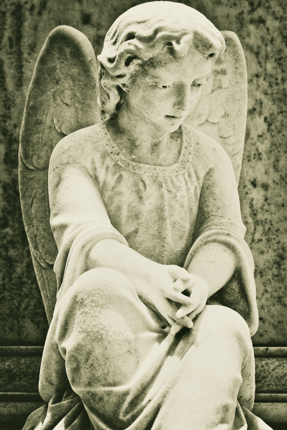 Grunge image of a beautiful female angel
